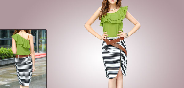 Lady Lime Green Black White Sleeveless Stripes Belt Loop Flounced Top Patchwork Summer Dress XS