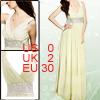 Women Off White Empire Waist Deep V Neck Full Length Dress XS