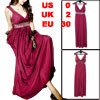 Women Glitter Faux Crystal Accent Empire Waist Full Length Dress ...