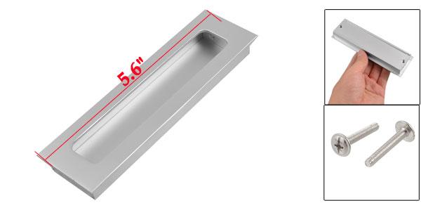 Silver Tone Aluminum Rectangular Flush Pull Handle 5.6