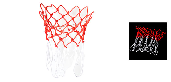 2 Pcs White Red Nylon Thread 12 Loop Basketball Replacement Net for Hoop
