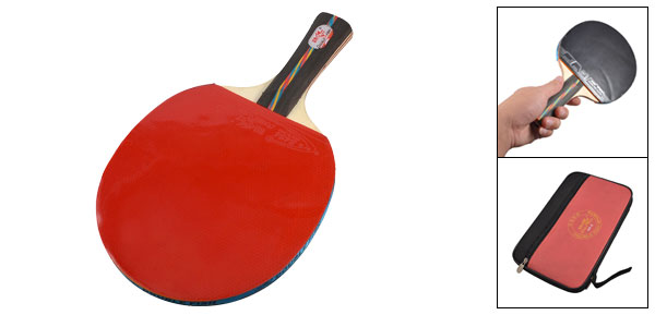Hands Grip Recreational Ping Pong Table Tennis Racket w Case