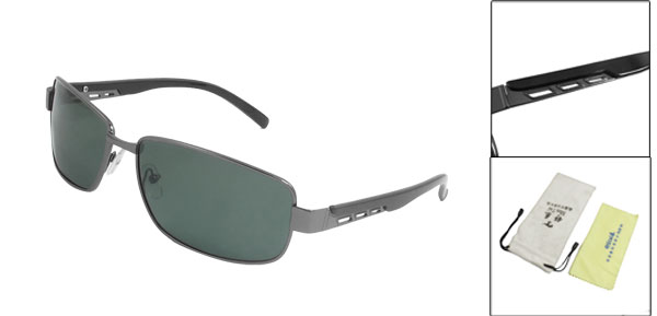 Men Dark Gray Full Rim Hollow Out Plastic Arms Polarized Sunglasses