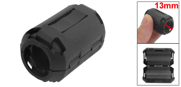UF-1330 13mm Diameter Black Clip On EMI RFI Noise Ferrite Core Filter