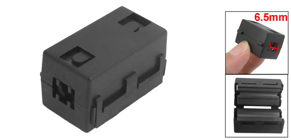 Black UF-65B EMI RFI Noise Ferrite Core Filter for 6.5mm Diameter Cable