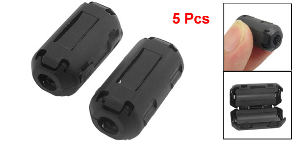 5 Pcs UF-50B Clip On Noise Suppressor 5mm Cable Ferrite Core Filters