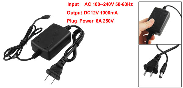 DC12V 1000mA 2 Pin US Plug Power Supply Adapter for CCTV CCD Video Camera