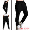 Mens Black Casual NEW Stylish Drawstring Elastic Waist Baggy Stra...