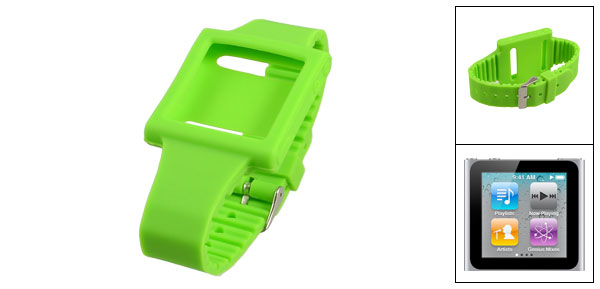 Green Soft Silicone Wrist Watch Band for Apple iPod Nano 6