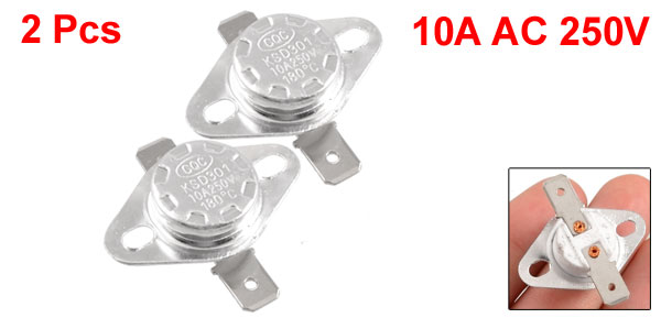 2 Pcs KSD301 180C Normal Closed Ceramic Thermostat Switch
