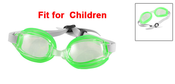 Children Clear Lens Green Frame Adjustable Strap Swimming Goggles