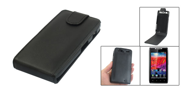 Black Faux Leather Magnetic Flip Case Pouch for Motorola XT910