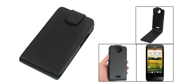 Magnetic Pull Up Tab Black Faux Leather Phone Case Pouch for HTC One X