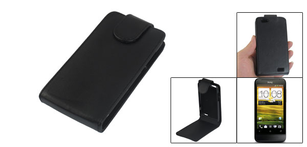 Black Flip Faux Leather Magnetic Vertical Pouch for HTC ONE V