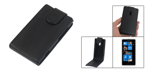 Black Faux Leather Phone Protective Case Pouch for Nokia Lumia 800