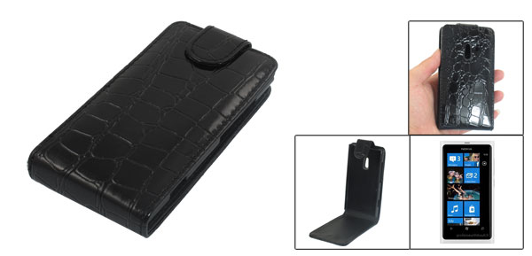 Black Crocodile Pattern Magnetic Vertical Flip Pouch for Nokia Lumia 800
