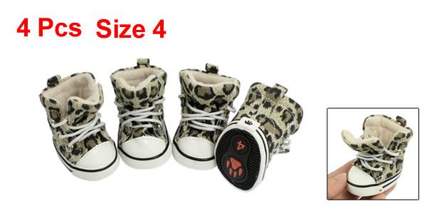 4 Pcs Size 4 Leopard Print Cozy Pet Dog Boots Booties Puppy Shoes