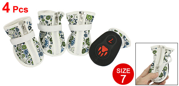 2 Pairs Blue Flower Prints Zippered White Faux Leather Dog Shoes Boots Size 7