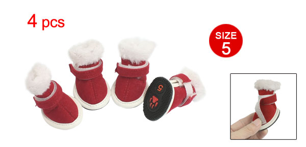 Pets Dog White Plush Red Faux Suede Christmas Boots Shoes Size 5