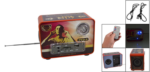 MP3 MP4 PC 3.5mm Plug USB 2.0 Port PYD-8 Mini Speakers DC 5V