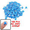 100 Pcs AC 250V 2200pF Through Hole Ceramic Disc Capacitors