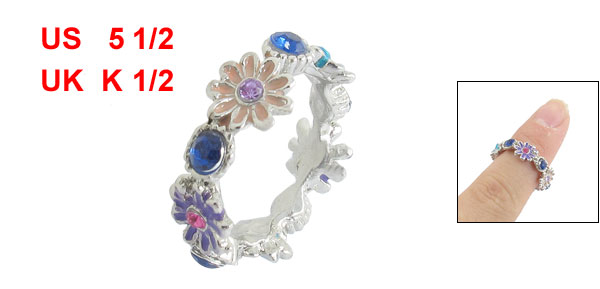Ladies Colorful Metal Flower Detailing Finger Ring US 5 1/2