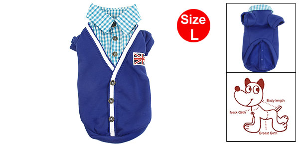 Size L Blue Cotton Pet Dog Apparel Clothes Autumn Check Shirts Coat Pullover