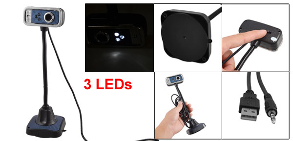 Rectangle 3 LEDs Flexible Neck USB Webcam PC Camera w Microphone