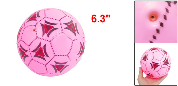 Pink Red Black Inflatable PVC Soccer Ball Toy 6.3