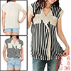 Allegra K Lady Folded Collar V Neck Petal Sleeve Pockets Striped Beige Black S