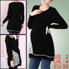 Pregnant Woman Scoop Neck Long Sleeve Elastic Hem Knit Tops Black...