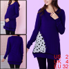 Pregnant Woman Scoop Neck Long Sleeve Long Soft Knit Shirt Dark B...
