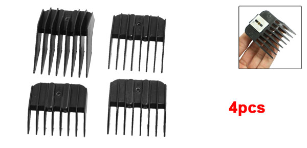 4 Pcs Black Plastic Hair Hairstyle Barber Clipper Guider Combs