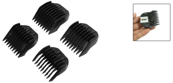 4 Pcs 12mm 9mm Black Plastic Hair Hairstyle Clipper Guider Combs