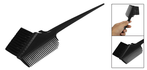 Salon Home Black Plastic Handle Teeth Hair Dyeing Comb Brush