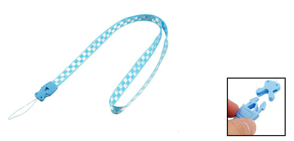 Cell Phone Camera ID Card Sky Blue White Plaid Lanyard Neck Strap