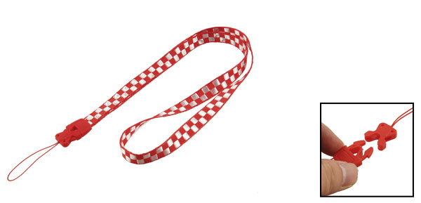 Mobile Phone Camera ID Card Red White Plaid Lanyard Neck Strap
