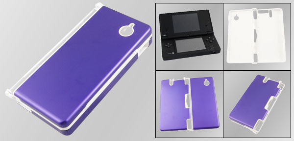 White Plastic Inside Purple Aluminum Alloy Surface Case for Nintendo NDSi