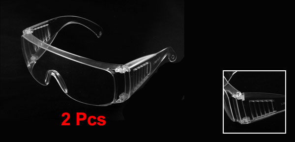 Men 2 Pcs Clear Uni Lens Plastic Arms Goggles Glasses