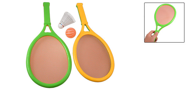 Children Pair Play Plastic Rackets Orange Green w Shuttlecock Ping-pong Ball