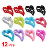 Women Colorful Plastic Dots Pattern Heart Shape Hair Claw Clip 12...