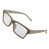 Unisex Light Coffee Color Wood Grain Full Rim Frame Plain Glass S...
