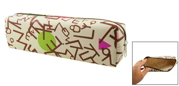 Green Fuchsia Circle Triangle Print Pen Pencil Case Pouch Bag Beige