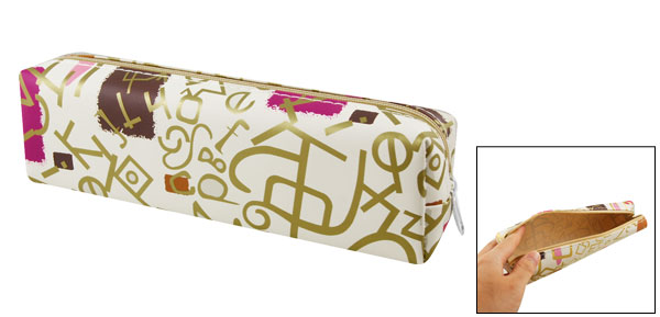 Bronze Tone Off White Letter Print Rectangular Pen Pencil Case Pouch Bag