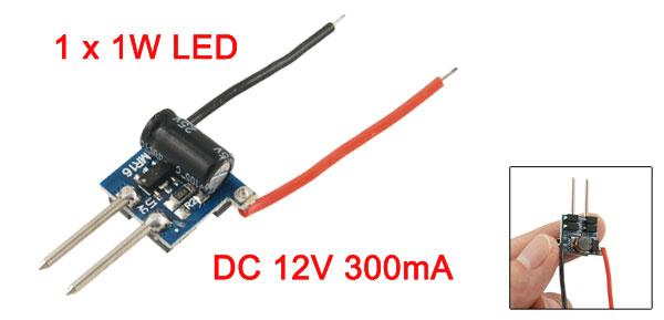 DC 12V 300mA 1 x 1W LED Light Lamp Power Driver for MR16