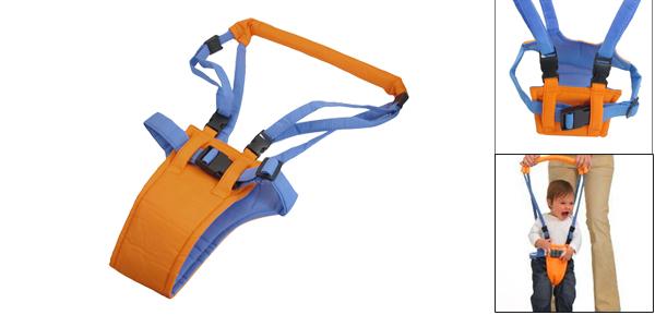 Comfortable Cotton Sponge Soft Baby Blue Orange Walking Belt w Harness