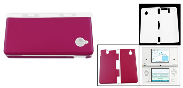 Fuchsia White Hard Plastic Protective Case Cover for Nintendo DS NDS 2