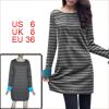Allegra K Lady Bar Striped Blue Cuff Detail Short Dress Black Dar...
