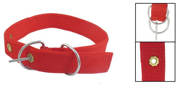 2.5cm Wide Red Nylon 3 Hole Design Pet Dog Collar Neck Strap