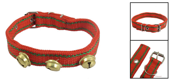Pet Dog Puppy Nylon Strap Three Bells Four Holes leash Collar Neck Red